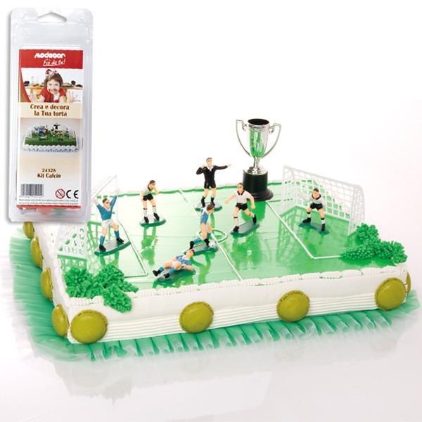 Fußball-Tortendeko-Set Kunststoff, 10-teilig mit Spielern, Toren & Pokal