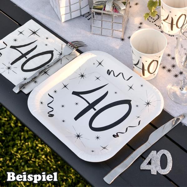 Geburtstagsteller mit Zahl 60., für 60. Geburtstag, 10 Stück, eckig, 23 cm
