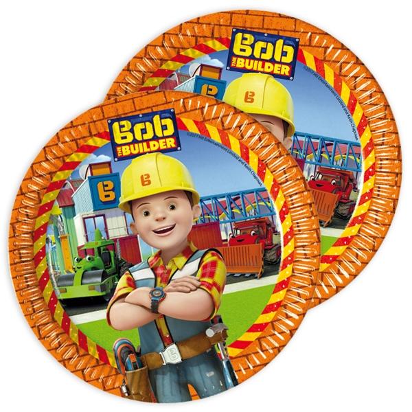 Bob der Baumeister Teller, 22,5cm, bedruckte Pappteller im 8er Pack