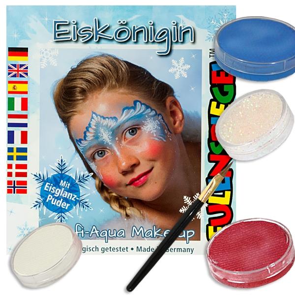 Kinderschmink-Set Eiskönigin, Motiv-Set, 3 Farben, 1 Eisglanzpuder u. mehr