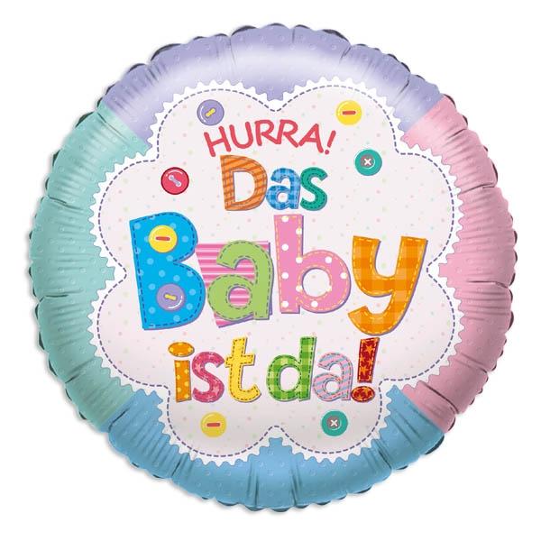 "Folienballon ""Hurra das Baby ist da! "" zur Geburt, 1 Stück"
