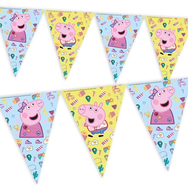 Peppa Pig Flaggenbanner, Peppa Wutz Wimpelkette aus Folie, 2,3m