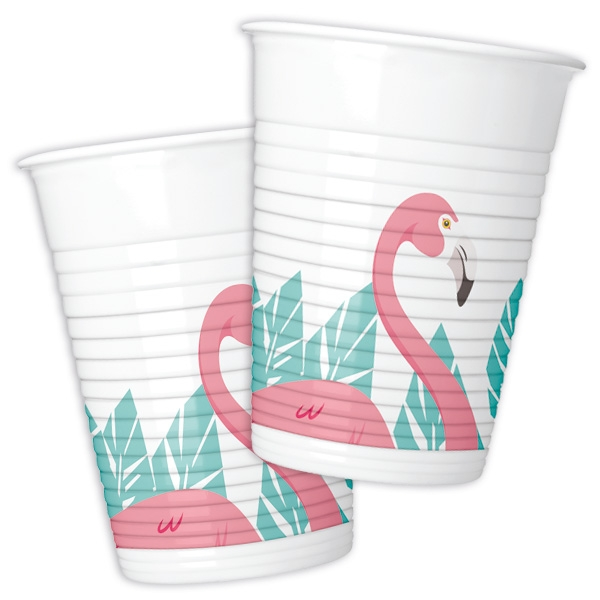 Flamingo Plastikbecher, 8 Stk., 200ml