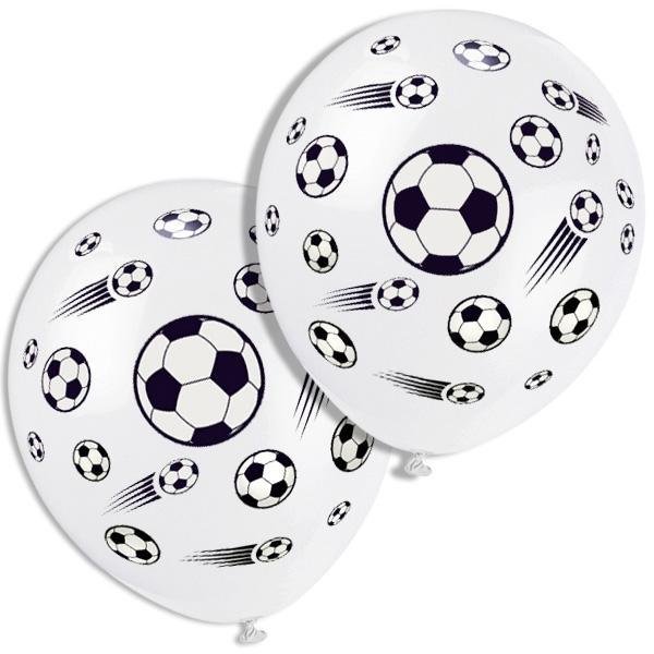 Fußball Luftballons, weiß, Latex 5 Stück mit aufgedruckten Fußbällen