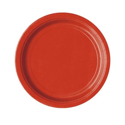 Partyteller einfarbig rot, 8 Stück rote Pappteller für Einweggeschirr, 18 cm