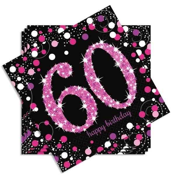 Sparkling Celebr. Servietten Zahl 60 pink, 16 Stk, 33x33cm