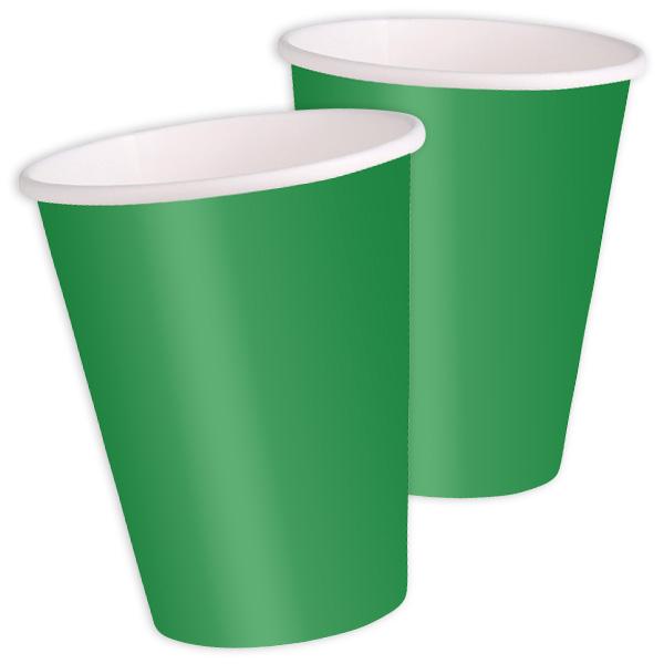 Grüne Becher im 8er Pack, tolle Einwegbecher aus Pappe, 270 ml