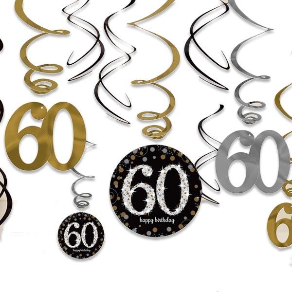 Sparkling Celebr. Metallicspiralen, 12er, 60ster Geburtstag