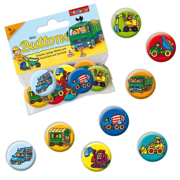 Baustelle Mini Buttons, Mitgebsel für Bauarbeiter-Mottoparty, 8er Pack