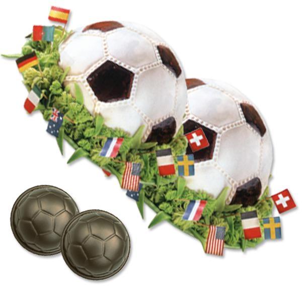 Backform für 2 Fußbälle, Kuchenform für Fußballgeburtstag, 8,5 cm