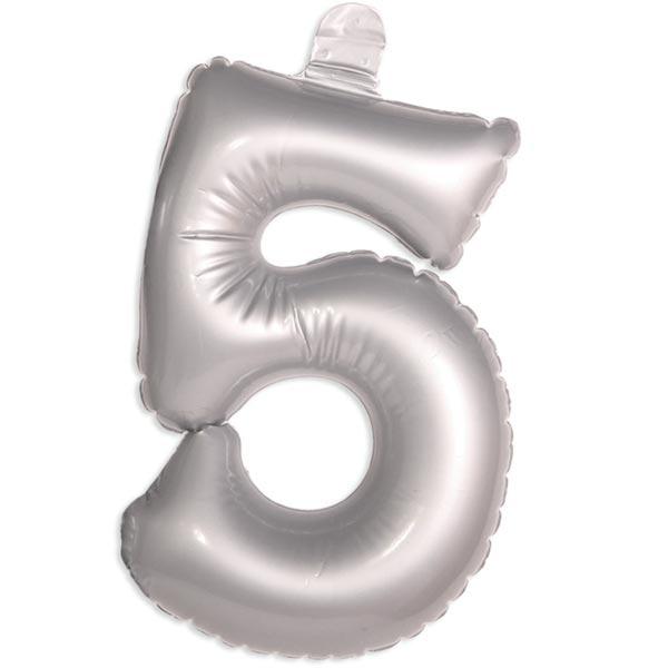 Zahl 5 als aufblasbarer Infletter mit Ventil, silbern, 35cm