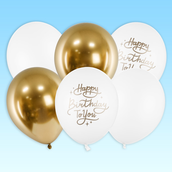 """6 Party-Ballons in weß und gold """"Happy Birthday to you"""", 30cm"""