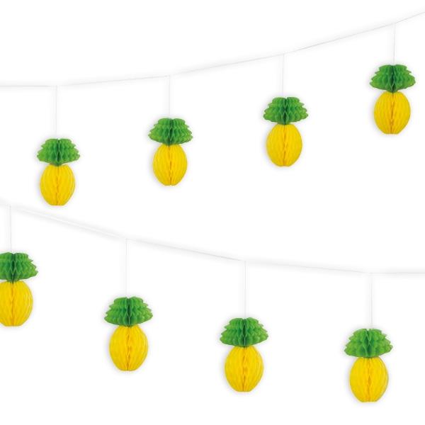Ananas Wabengirlande, 2,13m, 1 Stk, Wabendeko für viele Mottopartys