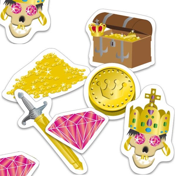 Piraten-Konfetti 24 Teile, 6-10cm, Motivkonfetti für Tischdeko