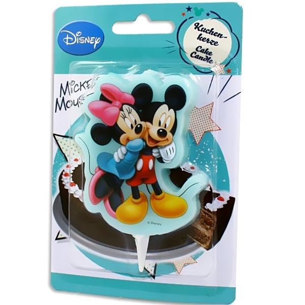 Mickey Maus Kuchenkerze mit Minnie Mouse, Motivkerze aus Wachs, 10 cm