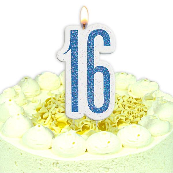 Geburtstagskerze Zahl 16, in schimmerndem Blau, Wachskerze