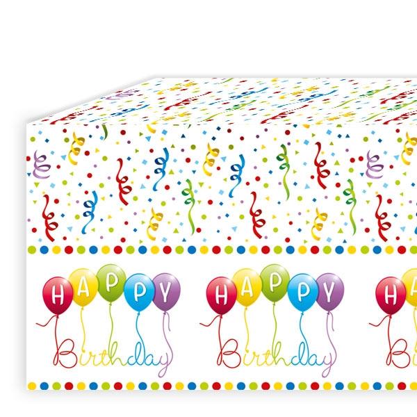 """""""Happy Birthday Luftschlangen"""" Tischdecke, Folie, 120x180cm"""