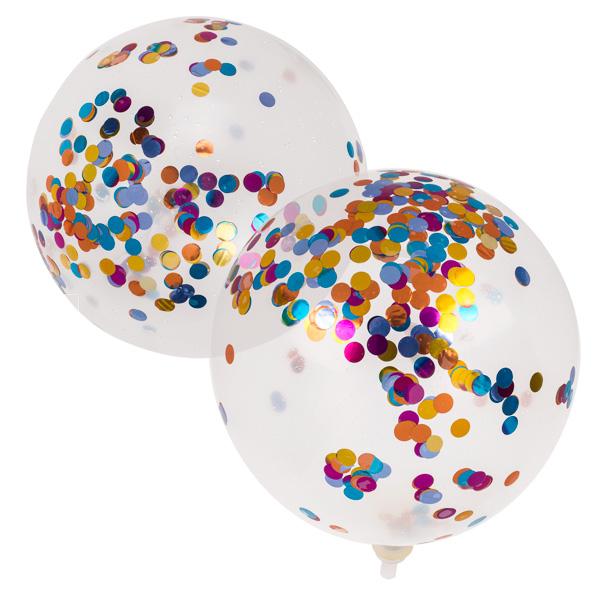 6 Party-Luftballons mit Metallic-Konfetti, ca. 30 cm