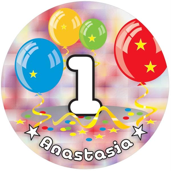 Ballon-Tortenaufleger 1. Geburtstag mit Name, Alter – rund
