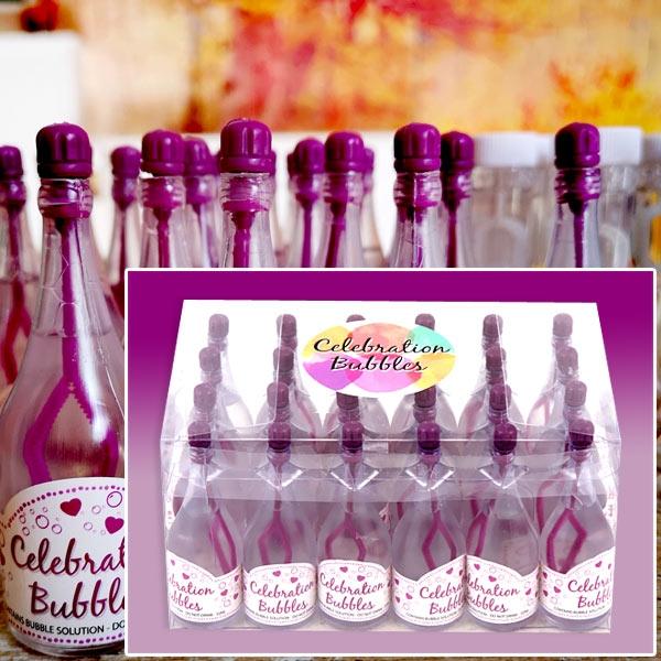 """Großpack """"Kleine lila Sektflasche"""" Seifenblasen, 24 Stk, 9cm"""