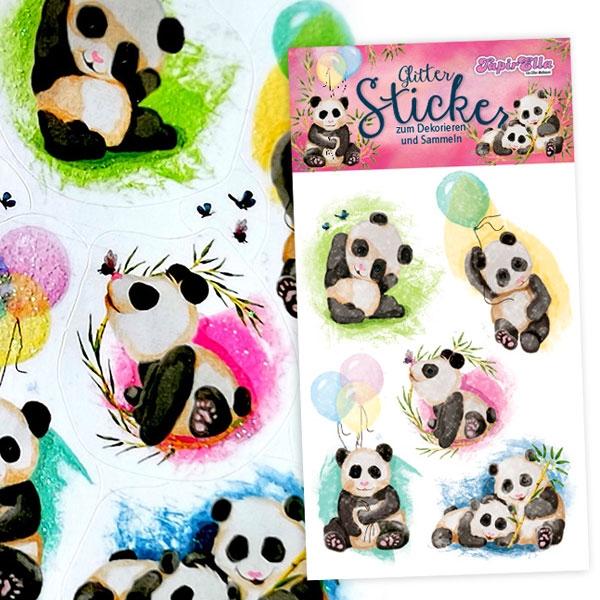 Glitzersticker Panda, 1 Karte, Glitzer-Aufkleber mit süßen Pandabildern
