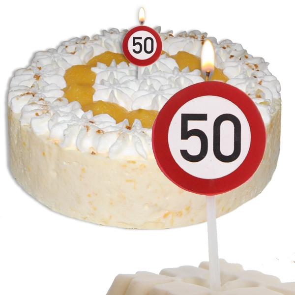 Mini Kerze Zahl 50, Zahlenkerze als Straßenschild zum 50.Jubiläum 2,2cm