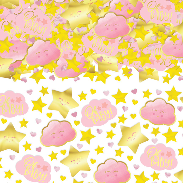 "Konfetti ""Oh Baby! Girl"" in gold und rosa, 70g"