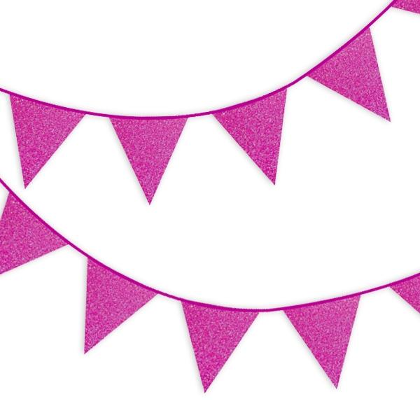 Glitzer-Wimpelkette in Fuchsia-Pink mit Glitzer Effekt, 6m, ein Stück