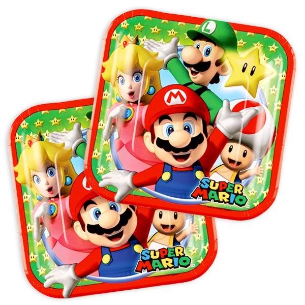 Super Mario Partyteller aus Pappe im 8er Pack für Tischdeko, 17,5cm