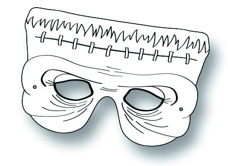 Kindermasken Grusel - 6er Pck, mit ausstellbaren Nasen, zum Bemalen