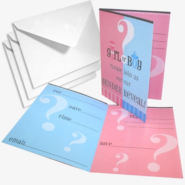 Einladungskarten - Boy or Girl, 8 Stück, mit Umschlägen