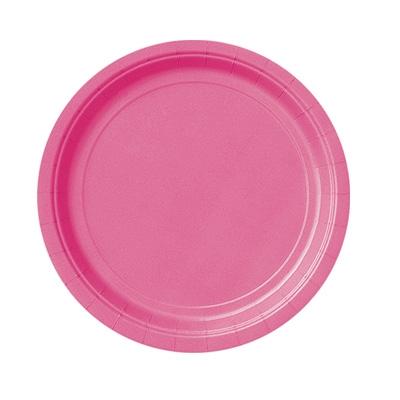 Pappteller einfarbig in zauberhaftem Pink für Mädchen und Frauen, 8 Stück