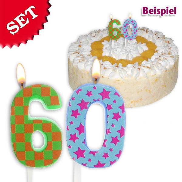 Geburtstagskerzen Set Zahl 60, 2,5cm