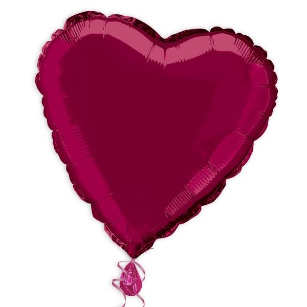 Herz-Folienballon dunkelrot, 35 cm