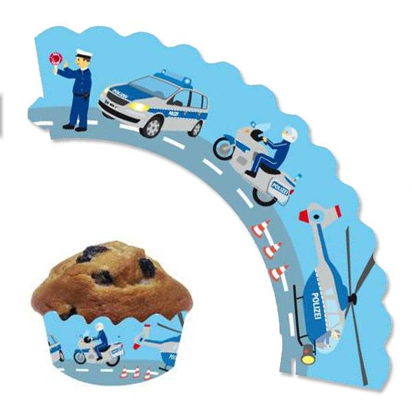 Muffin-Banderolen, Thema Polizei, 12 Stück, verstellbar