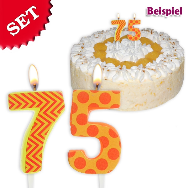 Geburtstagskerzen Set Zahl 75, 2,5cm