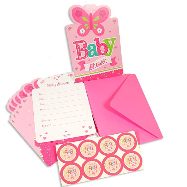 Welcome Baby Girl Einladungskarten, 8er Pack, plus Umschläge u. Sticker