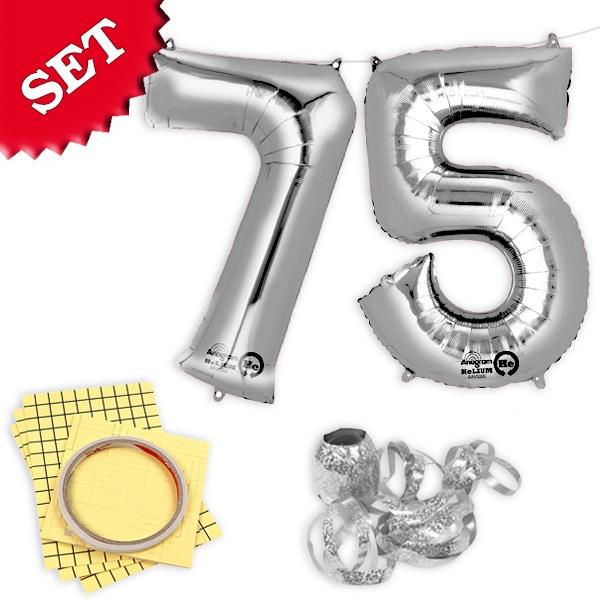 """XXL Folieballons Zahl """"75"""", silber"""