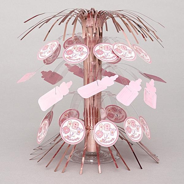 Baby Shower Tischkaskade rosa 21cm, zur Geburt eines Mädchens