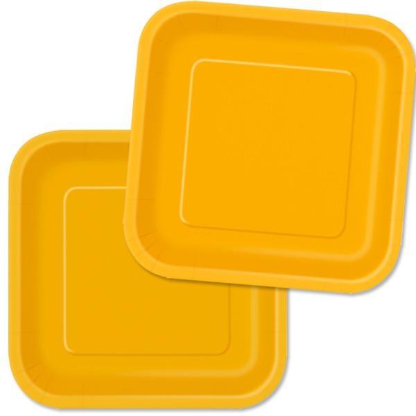 Eckige Partyteller in Gelb, 16 Stück, Pappteller mit runden Ecken, 18 cm