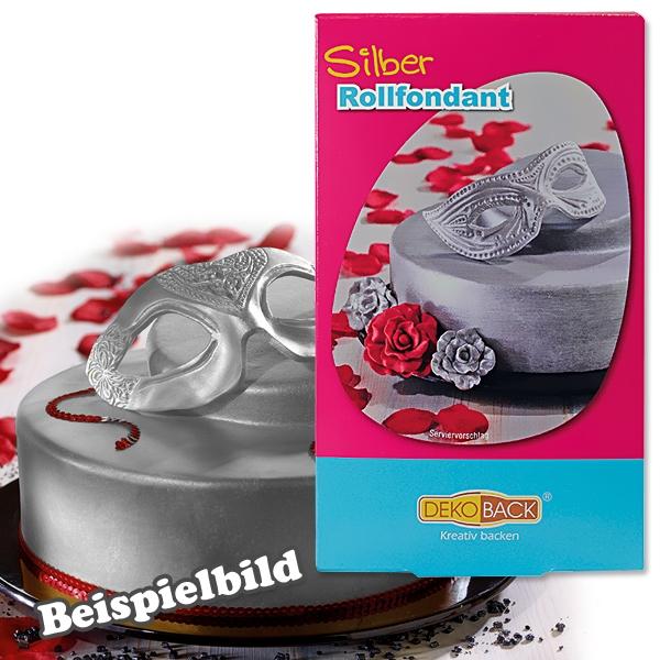 Silberfarbener Rollfondant, 250g plus Farbpulver, für Torte u. Kuchen