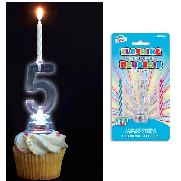 Kerzenhalter als 5 mit 4 Geburtstagskerzen, blinkend