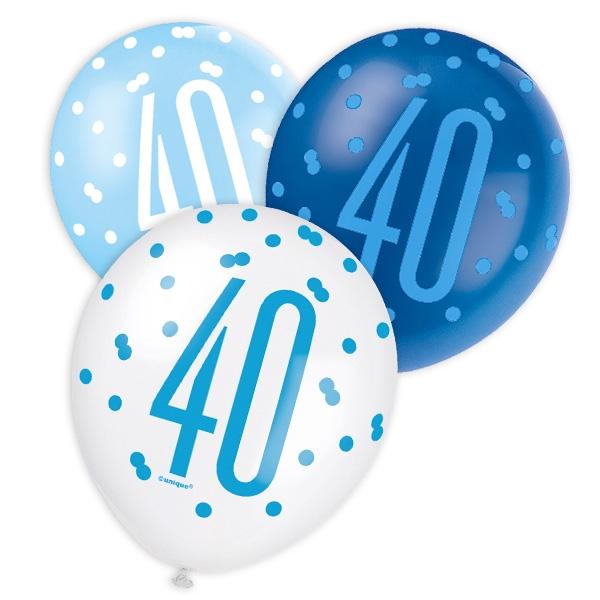 Latexballons für 40. Birthday, versch. Blautöne, 30cm, 6 Stk