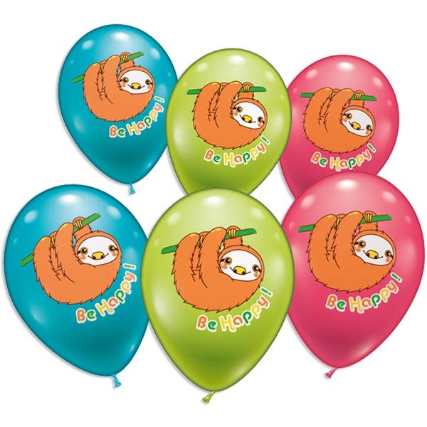 Freundliches Faultier, Ballons im 6er Pack