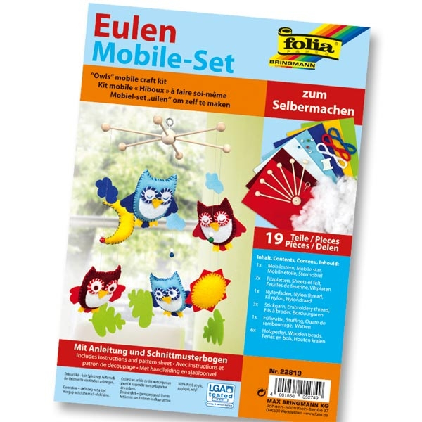 Mobile-Set ''Eulen'', 19 Teile, Bastelset für Unruhe, lustige Kinderzimmer Deko mit Eulen