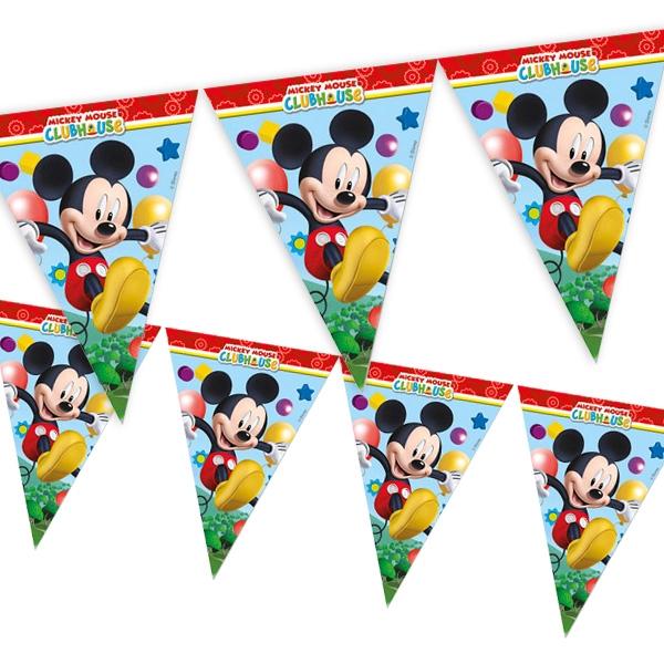 Mickey Maus Wimpelkette aus Folie für drinnen und draußen, 2,3m, 1 Stk