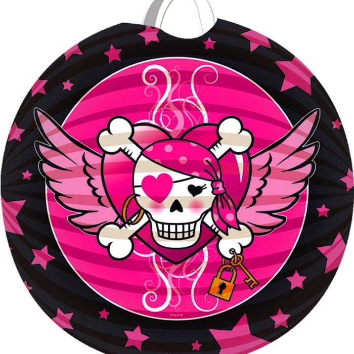 Piraten Girl Lampion, pinkes Design mit Totenkopf, 1 Stück, 22 cm