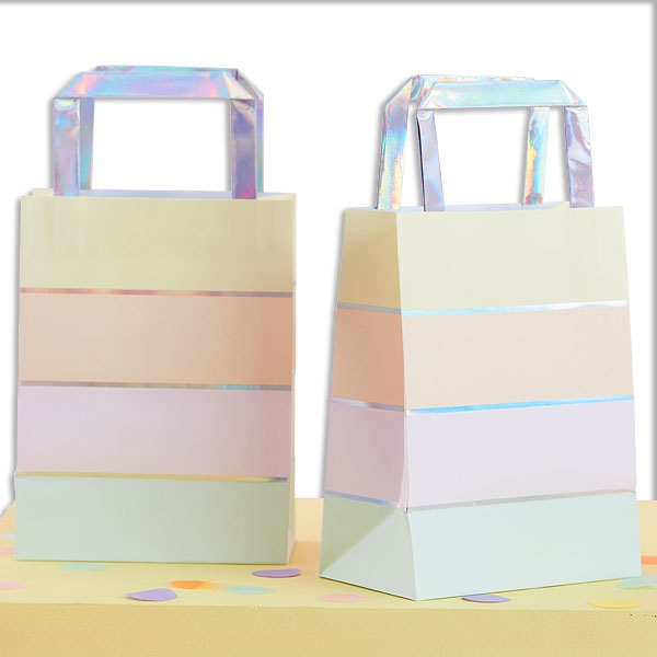 Pastellfarbene Geschenktüten, 5er Pck, 15cm x 27cm, Geschenkverpackung