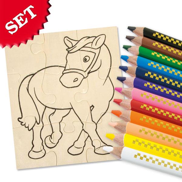 Holzpuzzle-Malset Pferd +Stifte-P1