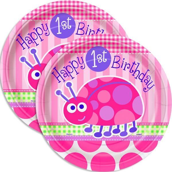 Käfer-Partyteller 1. Kindergeburtstag, Happy 1st Birthday, 23cm , 8 Stück